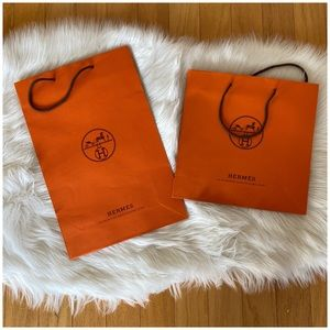 Authentic Hermes Lot of 2 Shopping Paper Totes
